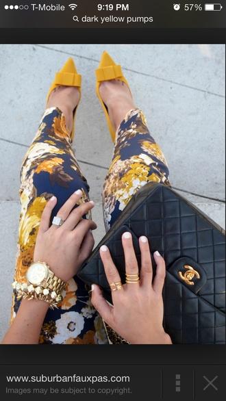 gold swede floral ankle length