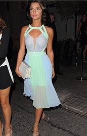 dress,cute dress,neon,colorful,mesh,cut-out,mint dress,halter dress,lucy mecklenburgh