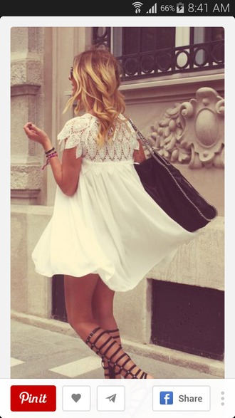 dress white dress boho short flowy feather leaf print summer dress