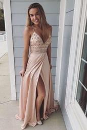 dress,prom dress,long prom dress,blush pink,gold dress,prom 2018,sexy prom dress