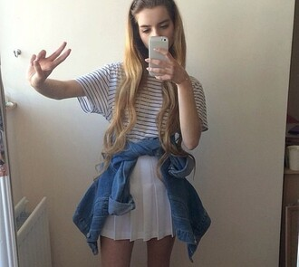 top yellow joanna kuchta stripes denim jacket skirt peace sign iphone case tumblr soft grunge pale grunge white white skirt boyfriend jeans black blue grey blonde hair brunette