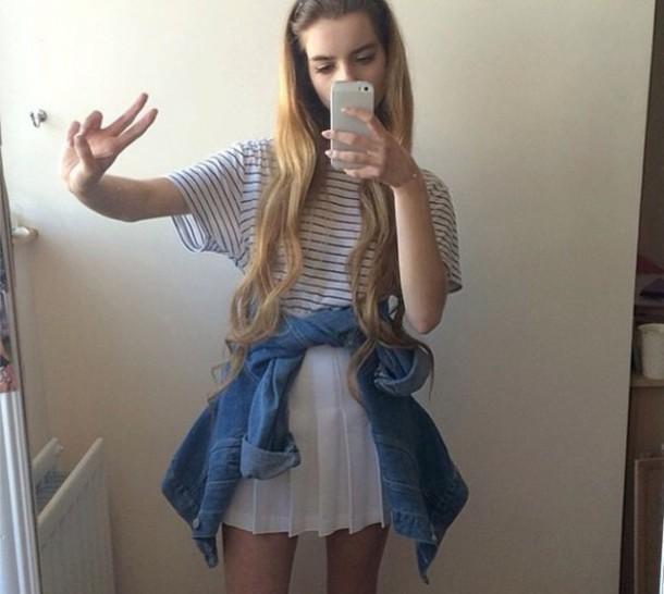 joanna kuchta stripes denim jacket skirt peace sign iphone case tumblr ...