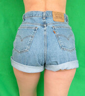 shorts,levi's,vintage,high waisted denim shorts,rolled cuffs
