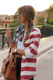 blouse,girl,bag,purse,top,shorts,perfect,summer,gold watch,t-shirt,hair bow,striped skirt,aztec,american flag,brown leather bag,clothes,high heels,High waisted shorts,zara,urban outfitters,stars,shoes,tank top,elegant,sunglasses,jewelry,chiffon,vintage,necklace,black dress,jewels,shirt,jacket,america,patriotic,denim jacket,american flag jacket blouse button up,blue,white,red,july 4th,usa,exactly like the picture,flag,red white and blue,stripes,black shorts,colorful,american flag shirt,white crop tops,watch,american