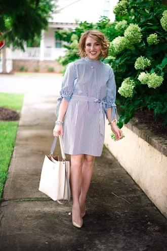 something delightful blogger dress bag jewels shoes summer outfits striped dress pumps