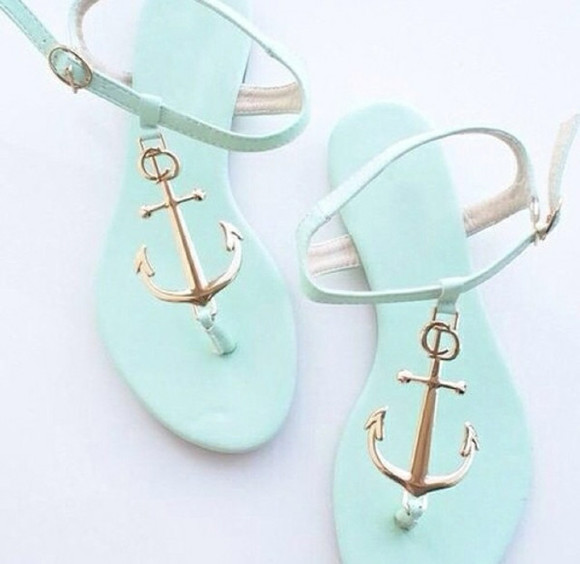 shoes sandals sea green mint navy anchor