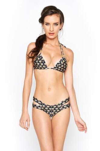 swimwear bikini bottoms bikini delivery black cheeky cute outfits floral gold montce swimwear print skimpy tan bikiniluxe