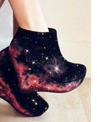 shoes galxy print cool urban special unusual black stars milkyway streetwear streetstyle wedges galaxy print ankle boots