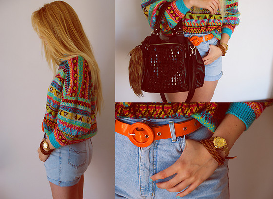 Sweater, Vero Moda Shorts Diy, Prada Belt, Rolex Watch, Bag With Studs - Bamboo banga  - Tina Iwan | LOOKBOOK
