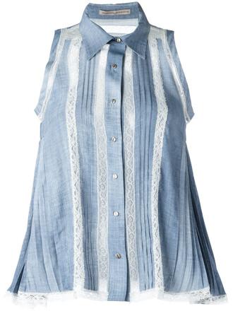 shirt women lace cotton blue top