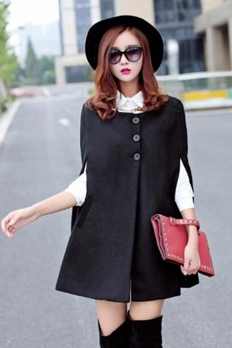 black coat cape sleeveless top