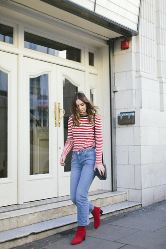 top tumblr stripes striped top denim jeans blue jeans red boots boots ankle boots mid heel boots thick heel bag french girl style black bag thick heel boots