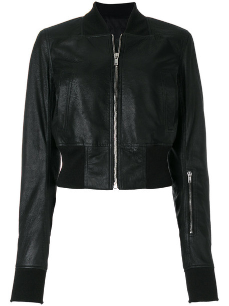 Rick Owens jacket bomber jacket zip women cotton black silk wool