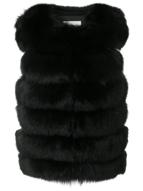 Yves Salomon vest short fur fox women black silk jacket