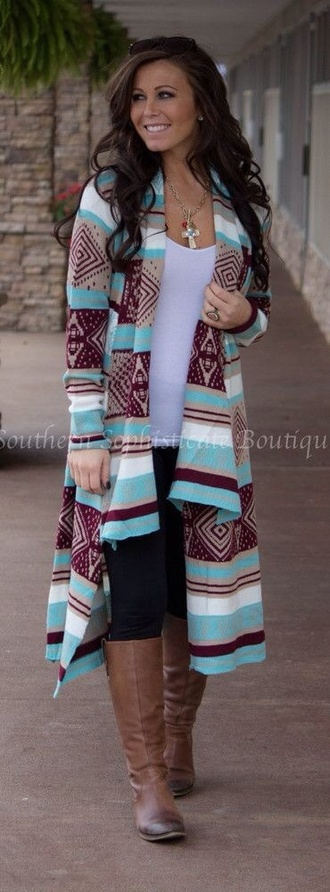 sweater aztec mint long sleeves