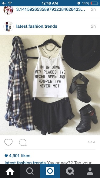 tank top top shirt blouse cardigan shoes hat jewels shorts