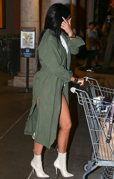 kylie jenner boots louboutin hair accessory coat green long coat