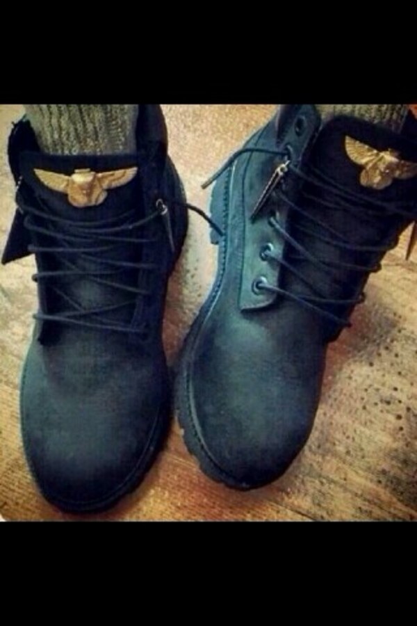 shoes black timberlands boots gold