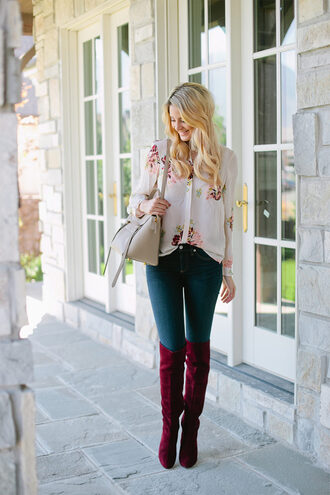 ivory lane blogger blouse jeans shoes bag button up floral top skinny jeans shoulder bag beige knee high boots burgundy
