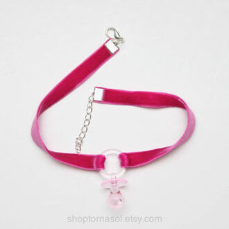 jewels choker necklace pink baby