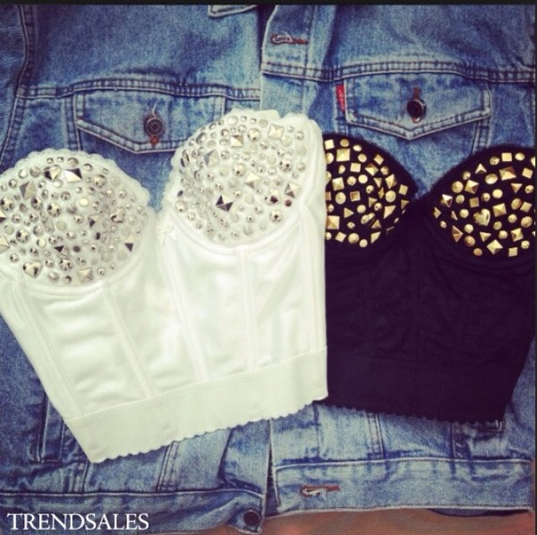 blouse crop tops tank top black bustier corset sexy white studded crop top
