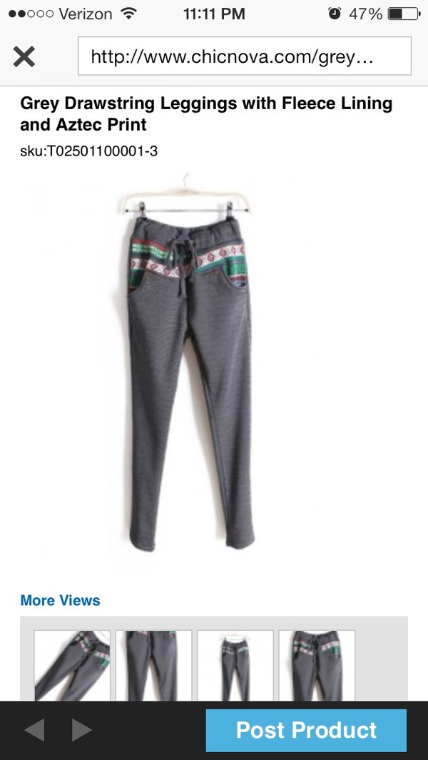 pants aztec leggings fleece drawstring grey
