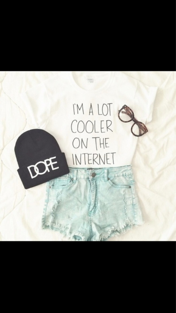short girl dope cooler internet perfect look style t-shirt graphic tee