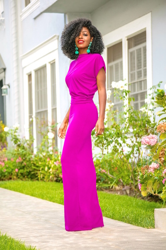 blogger dress bag shoes fall outfits maxi dress fuchsia dress fall dress