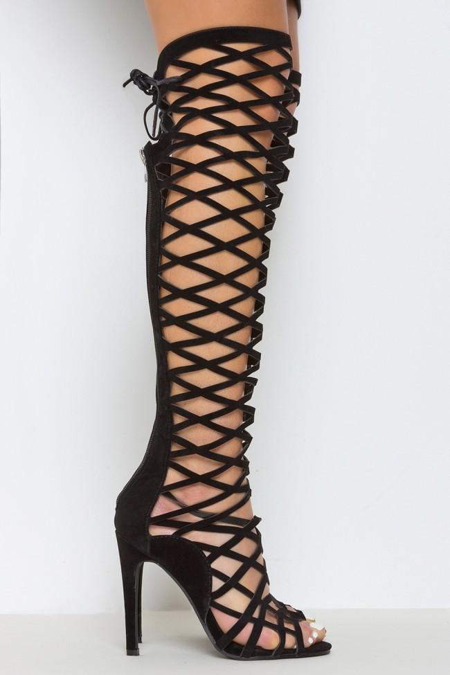 Tied Up Tight Knee High Caged Heels Black | LASULA