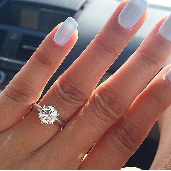 Nail designs with diamonds on one finger : Jewels ring diamonds engagement shiny nails hand jewelry diamond wheretoget