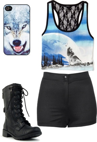 shirt wolf light blue crop tops shorts shoes