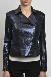 jacket,biker jacket,motorcycle jacket,sequins,sequined jacket,beaded,leather,leather trimmed,pleather,blue,navy,black,shiny,sporty,glamour,biker,rock chick,rock chic,rock,trendy,leather jacket,leather trimmed jacket,sequin jacket