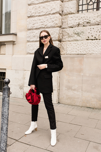 jacket tumblr black blazer blazer pants black pants boots white boots bag red bag handbag sunglasses