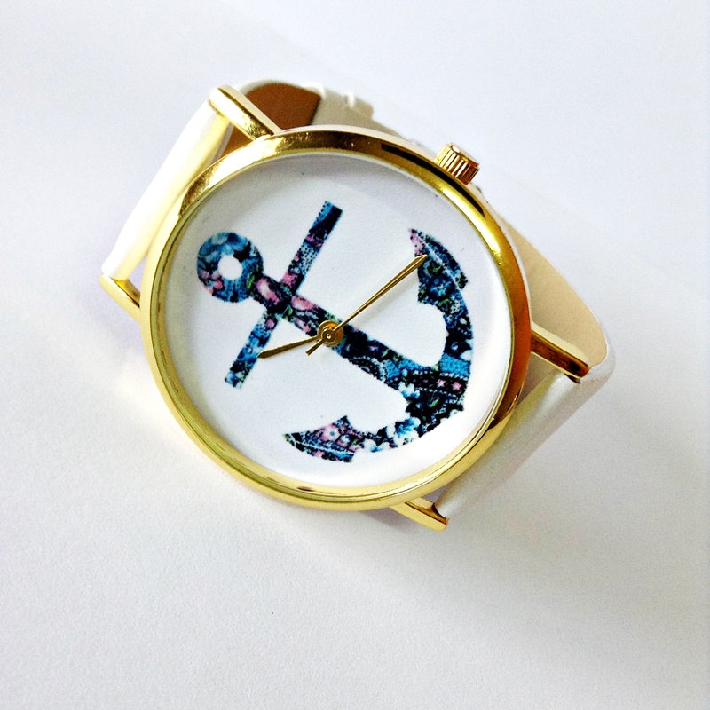 Anchor Watch, Nautical watch, Vintage Style Leather Watch, Women Watches, Unisex Watch, Boyfriend Watch, White, Tan,