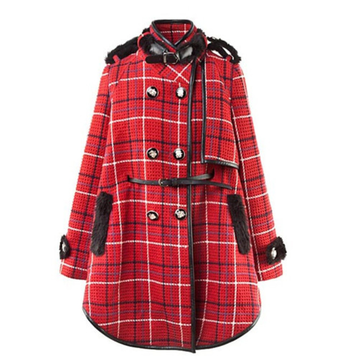 Stand Collar Plaid Double-Breasted Woolen Coat,Cheap in Wendybox.com