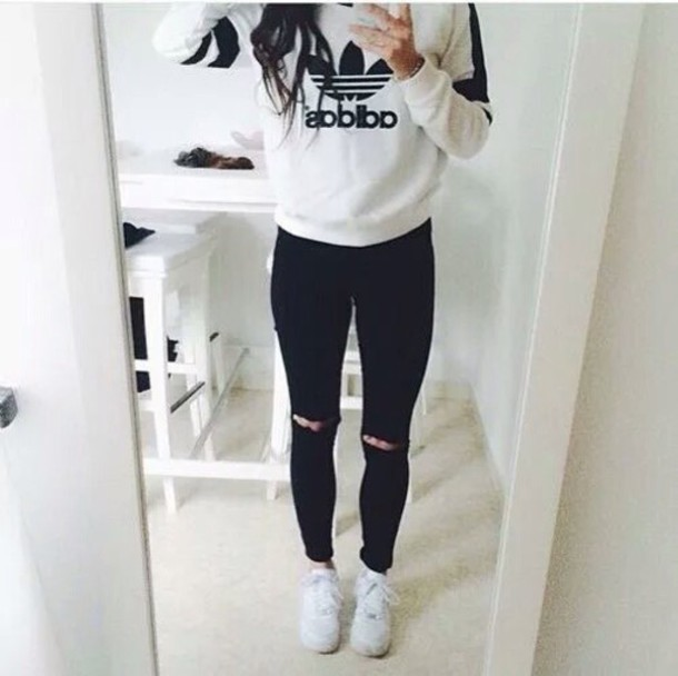 sweater adidas tumblr tumblr outfit black and white black white fashion streetwear. Black Bedroom Furniture Sets. Home Design Ideas