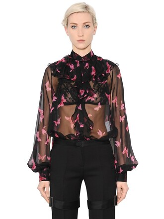 shirt chiffon butterfly silk black pink top