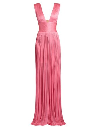 gown pleated silk pink dress