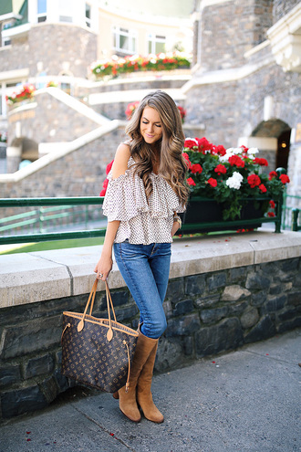 southern curls and pearls blogger top jeans shoes jewels make-up louis vuitton bag louis vuitton knee high boots summer outfits
