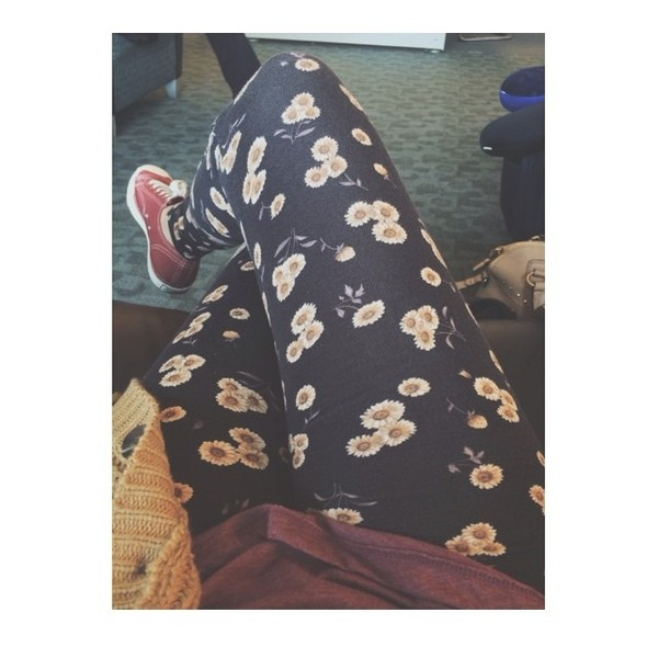 pants leggings floral flowers bethany mota macbarbie07