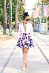 ktr style,top,blouse,skirt,shoes,bag,skater skirt,floral skirt
