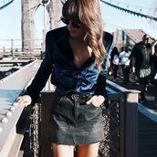 skirt,tumblr,gucci,denim skirt,black skirt,mini skirt,shirt,blue shirt,velvet,sunglasses,blouse,gucci belt,logo belt