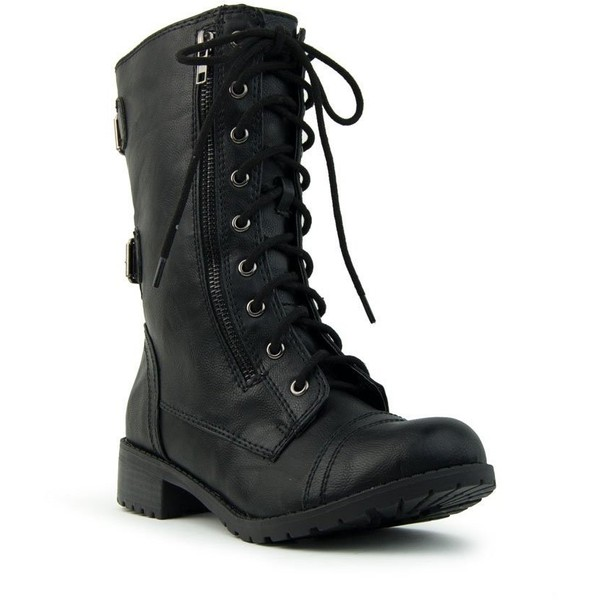 Soda Women's Dome Combat Lace Up Mid Calf Military Boot - Polyvore