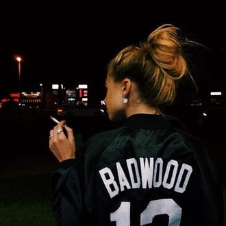 jacket bun bomber jacket black jacket fall jacket badwood ghetto blouse