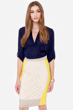 Lace Skirt - Cream Skirt - Yellow Skirt - Pencil Skirt - $81.00