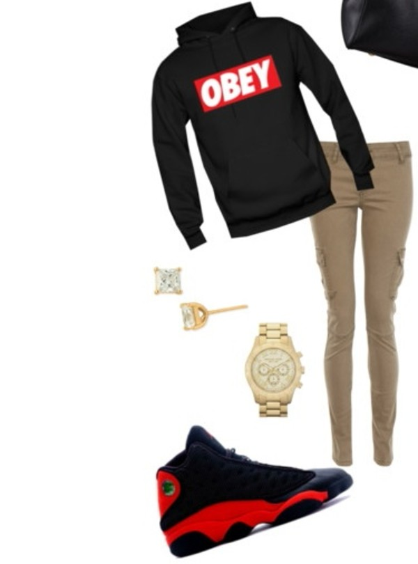 Shoes obey sweatshirt jordans red and black outfit where to get this jacket from? pants ...