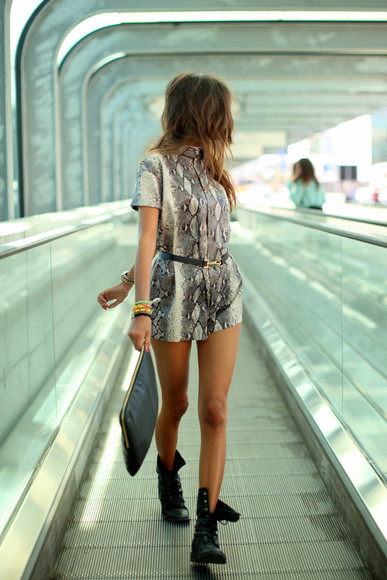 dress snake skin animal print snake skin print romper grey black white shoes