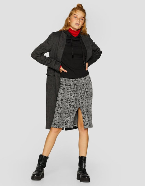 Stradivarius Jacquard Print Pencil Skirt With A Front Slit In Dark Grey