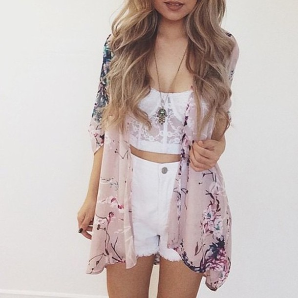 cardigan, floral kimono, summer outfits, tumblr outfit ...
