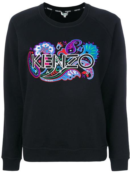 Kenzo sweatshirt embroidered women cotton black paisley sweater